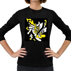 Yellow, black and white decor Women s Long Sleeve Dark T-Shirts