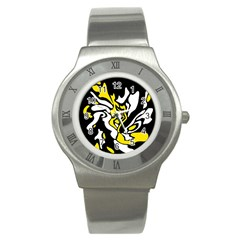 Yellow, black and white decor Stainless Steel Watch