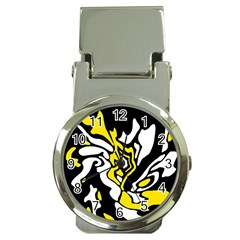Yellow, black and white decor Money Clip Watches