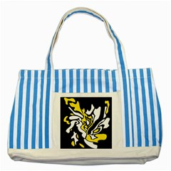 Yellow, black and white decor Striped Blue Tote Bag