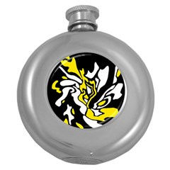 Yellow, black and white decor Round Hip Flask (5 oz)