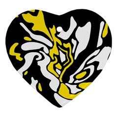Yellow, black and white decor Heart Ornament (2 Sides)