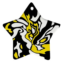 Yellow, black and white decor Star Ornament (Two Sides)