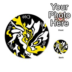 Yellow, black and white decor Playing Cards 54 (Round)