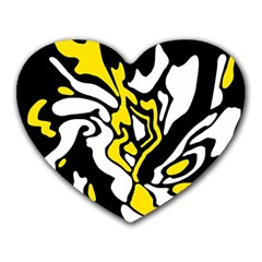 Yellow, black and white decor Heart Mousepads