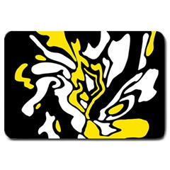 Yellow, black and white decor Large Doormat