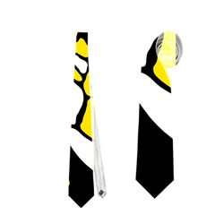 Yellow, black and white decor Neckties (One Side)