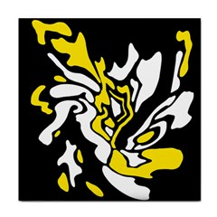 Yellow, black and white decor Face Towel