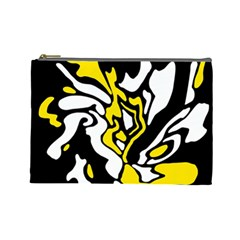 Yellow, black and white decor Cosmetic Bag (Large)