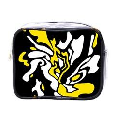 Yellow, black and white decor Mini Toiletries Bags