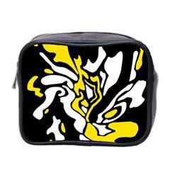 Yellow, black and white decor Mini Toiletries Bag 2-Side
