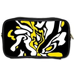 Yellow, black and white decor Toiletries Bags