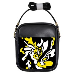 Yellow, black and white decor Girls Sling Bags