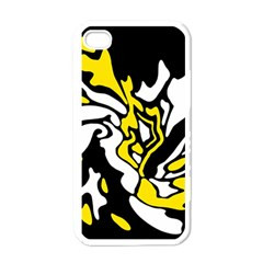 Yellow, black and white decor Apple iPhone 4 Case (White)