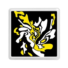 Yellow, black and white decor Memory Card Reader (Square)