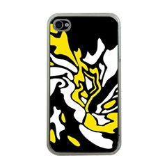 Yellow, black and white decor Apple iPhone 4 Case (Clear)