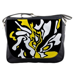 Yellow, black and white decor Messenger Bags
