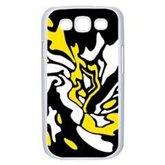 Yellow, black and white decor Samsung Galaxy S III Case (White)