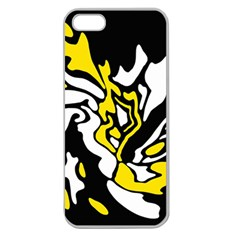 Yellow, black and white decor Apple Seamless iPhone 5 Case (Clear)
