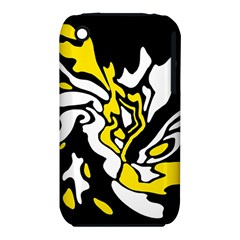Yellow, black and white decor Apple iPhone 3G/3GS Hardshell Case (PC+Silicone)