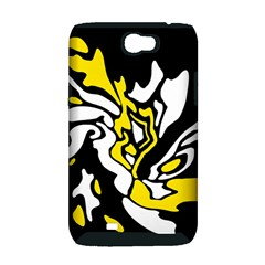 Yellow, black and white decor Samsung Galaxy Note 2 Hardshell Case (PC+Silicone)