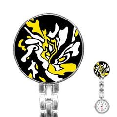 Yellow, black and white decor Stainless Steel Nurses Watch