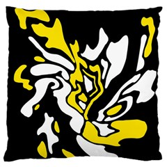 Yellow, black and white decor Large Flano Cushion Case (Two Sides)