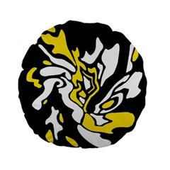 Yellow, black and white decor Standard 15  Premium Flano Round Cushions