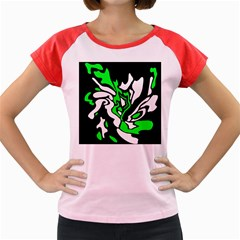 Green, white and black decor Women s Cap Sleeve T-Shirt