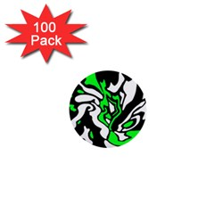 Green, white and black decor 1  Mini Buttons (100 pack)