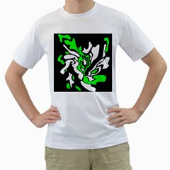 Green, white and black decor Men s T-Shirt (White) (Two Sided)