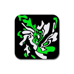 Green, white and black decor Rubber Square Coaster (4 pack)