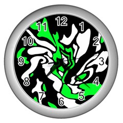 Green, White And Black Decor Wall Clocks (silver)