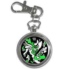 Green, white and black decor Key Chain Watches