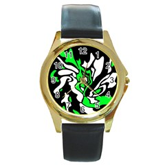 Green, white and black decor Round Gold Metal Watch
