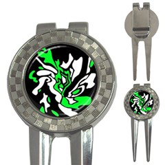 Green, white and black decor 3-in-1 Golf Divots