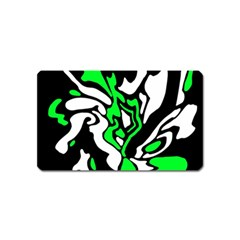 Green, white and black decor Magnet (Name Card)