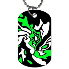 Green, white and black decor Dog Tag (One Side)