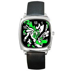 Green, white and black decor Square Metal Watch