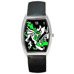 Green, white and black decor Barrel Style Metal Watch