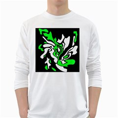 Green, white and black decor White Long Sleeve T-Shirts