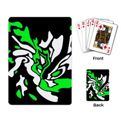Green, white and black decor Playing Card