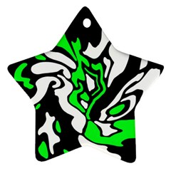 Green, white and black decor Star Ornament (Two Sides)