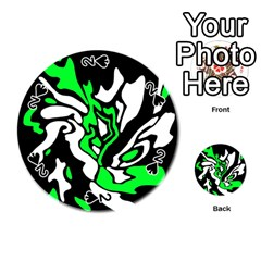 Green, white and black decor Playing Cards 54 (Round)