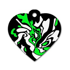 Green, white and black decor Dog Tag Heart (Two Sides)