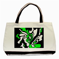 Green, white and black decor Basic Tote Bag (Two Sides)