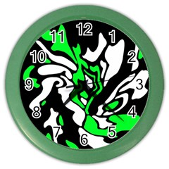 Green, white and black decor Color Wall Clocks
