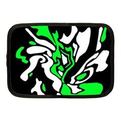 Green, white and black decor Netbook Case (Medium)