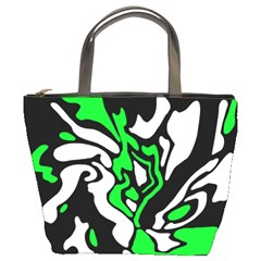 Green, white and black decor Bucket Bags