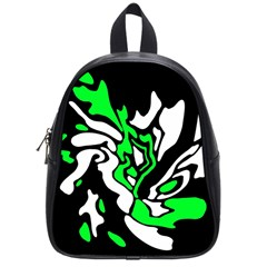Green, white and black decor School Bags (Small)